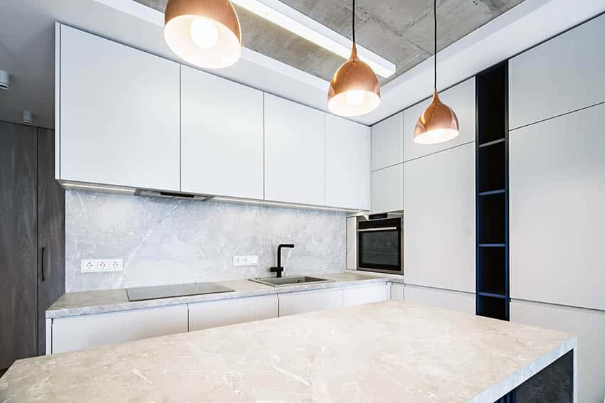 Modern kitchen with dekton countertops backsplash white cabinets