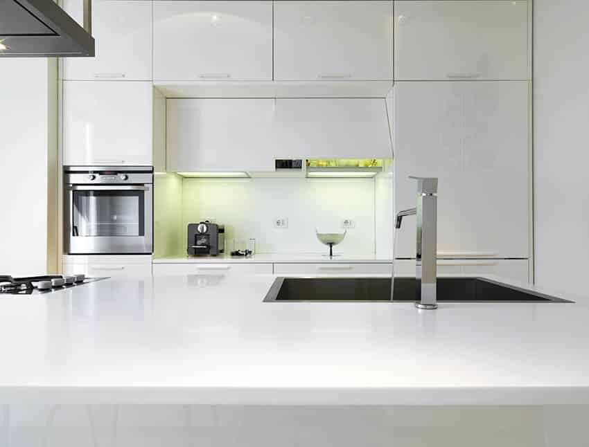 Modern kitchen with silgranit sink in island and lacquer cabinets