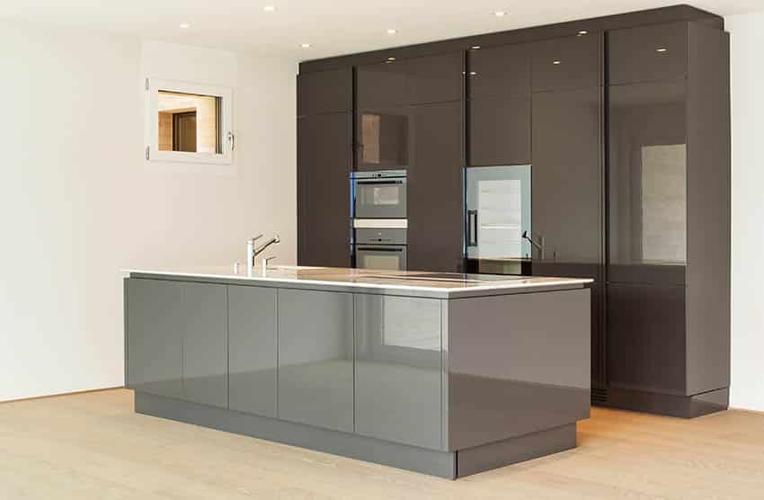 Modern kitchen with two tone high gloss cabinets brown and gray island