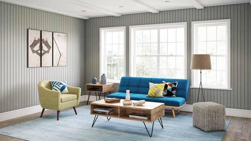 Modern living room with mango wood coffee table colorful sofa arm chair