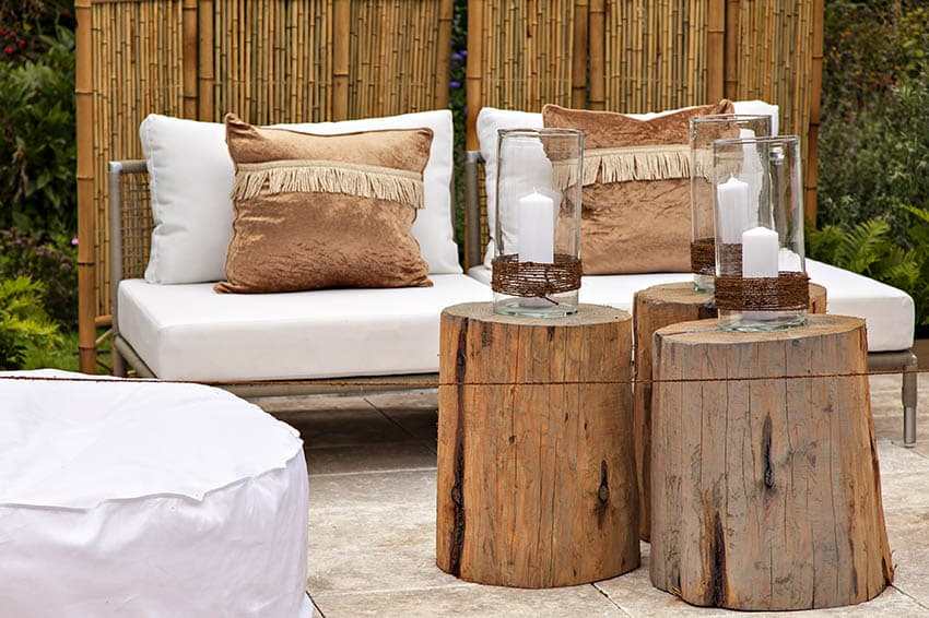Patio with bamboo wind block panels