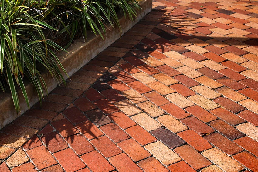 Sealed terra cotta pavers patio
