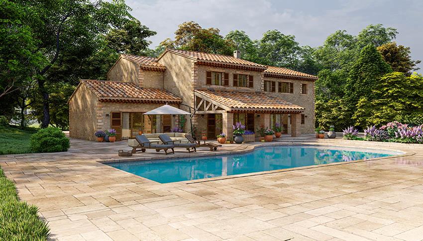 Swimming pool patio with travertine pavers