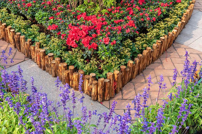 Timber wood garden edging
