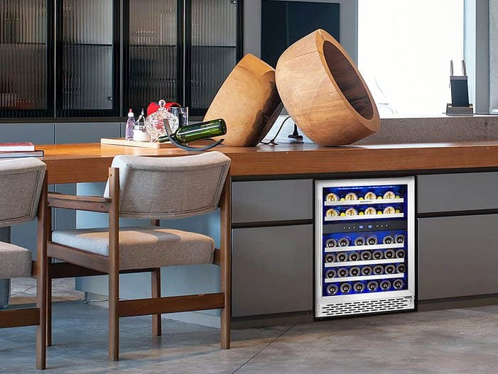 Under counter wine cooler with dual zones