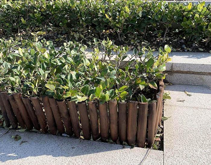 Wooden garden fence edging