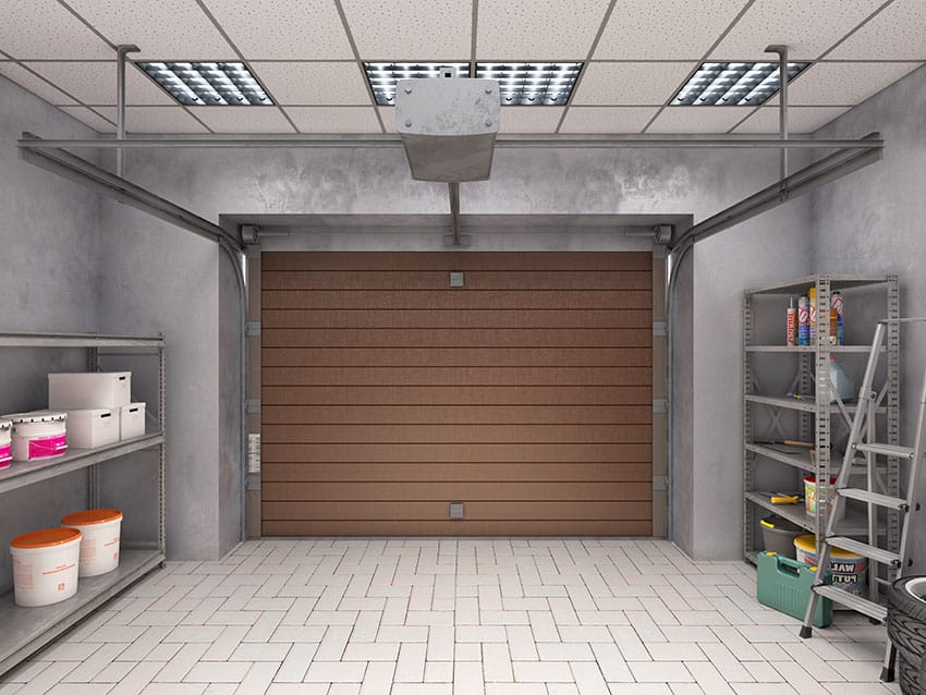 Garage interior with white paves brown door drop ceiling