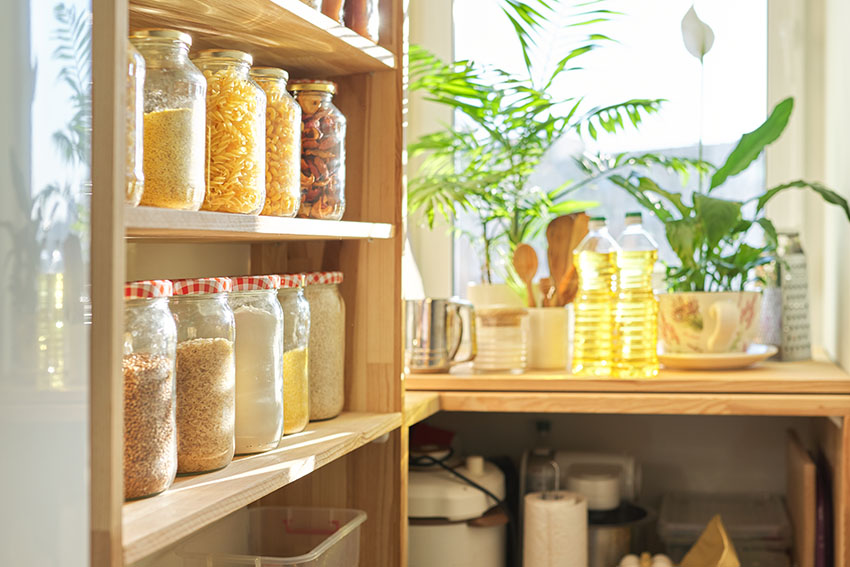 Pantry with herbs and spices