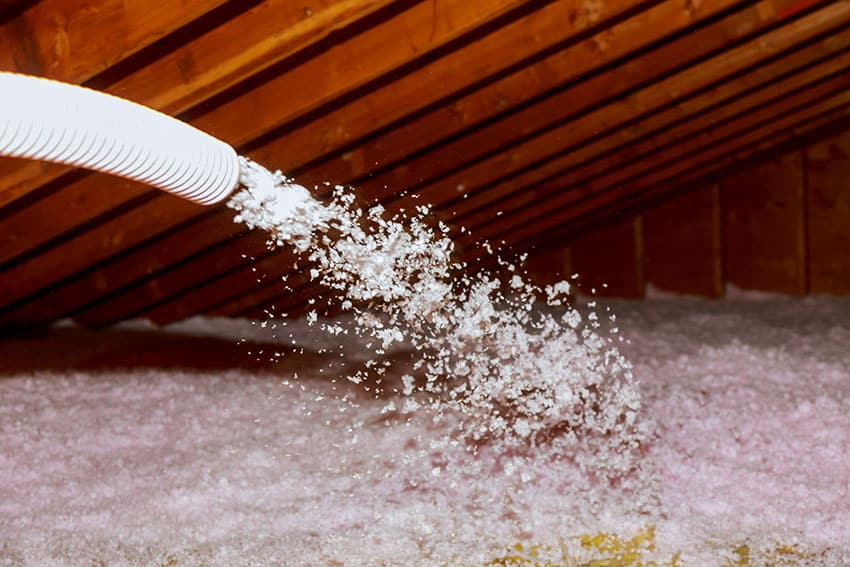 Spraying foam roof rafters