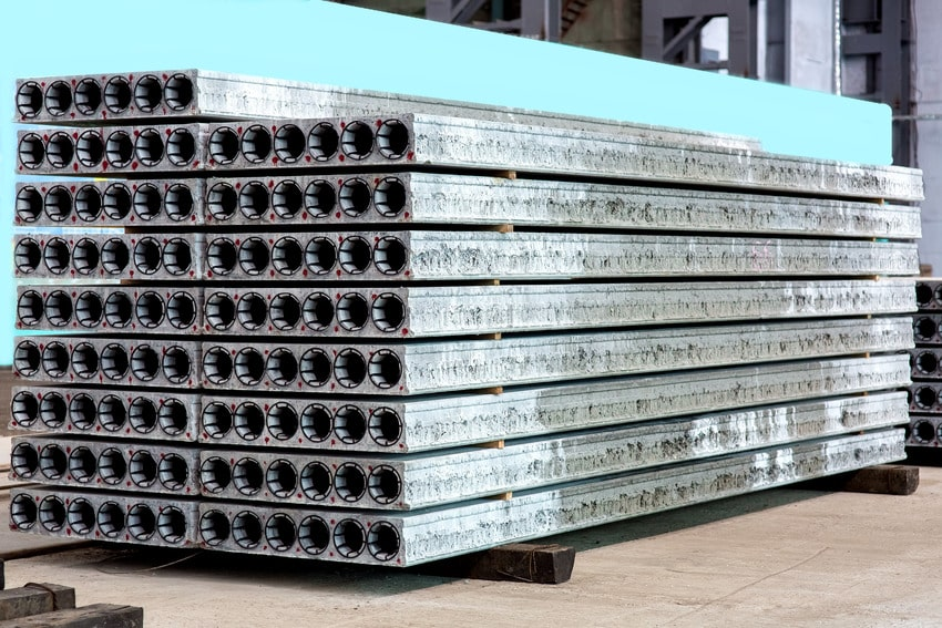 A pile of precast panels at a warehouse