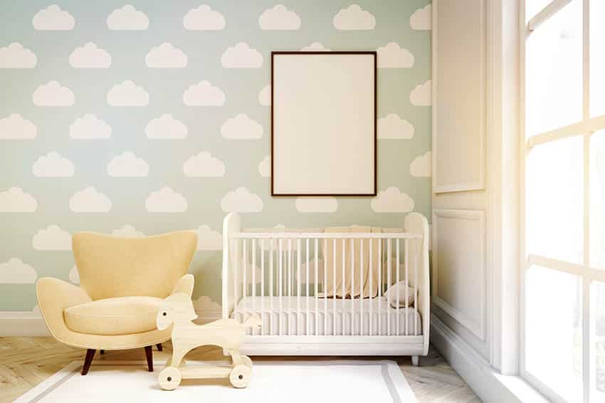 Baby nursery with clouds wallpaper