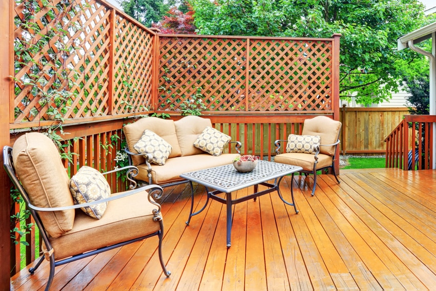 Backyard patio powder coated furniture wood floor