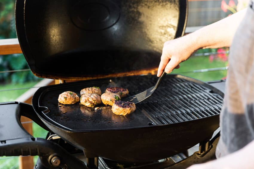 Barbecue grill griddle in backyard