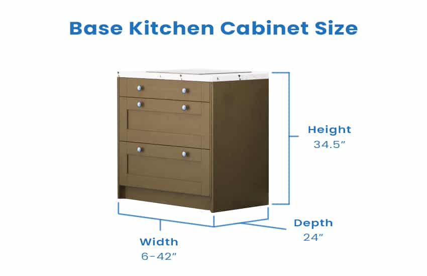 Base kitchen cabinet with dimension size