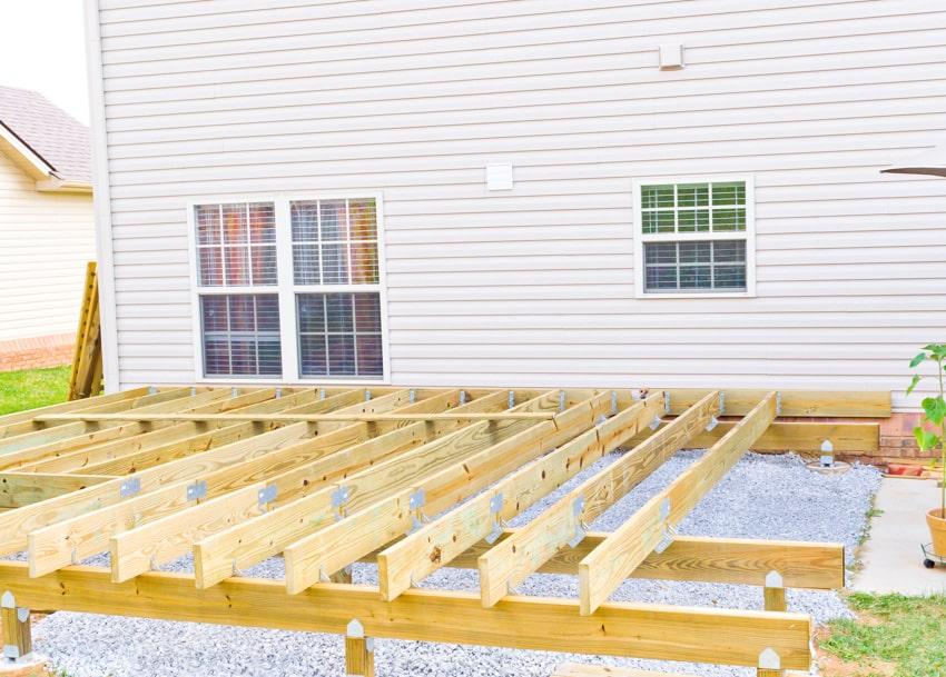 Basic wooden frame for exterior deck