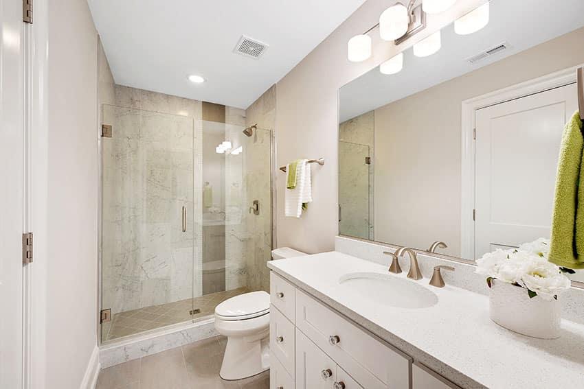 Bathroom with frameless shower doors