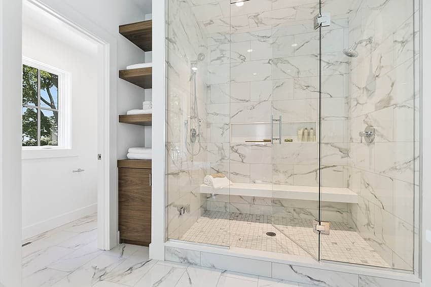 Bathroom with marble mosaic tile shower floors and walls dual shower heads