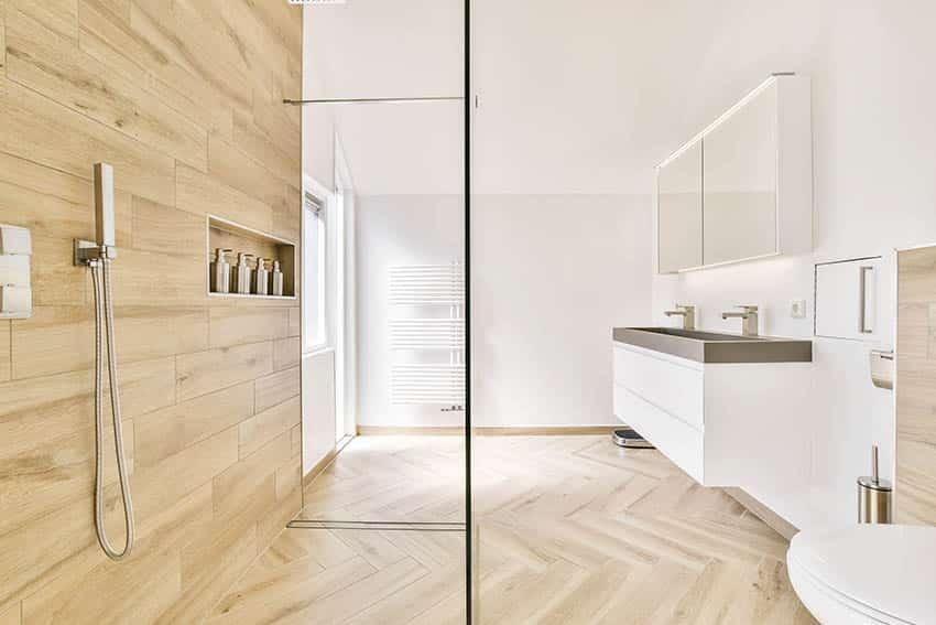 Bathroom with walk in shower wood look porcelain tiles floating vanity
