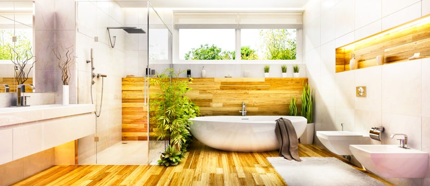 Bathroom with wood floors shower area porcelain bathtub toilet and sink