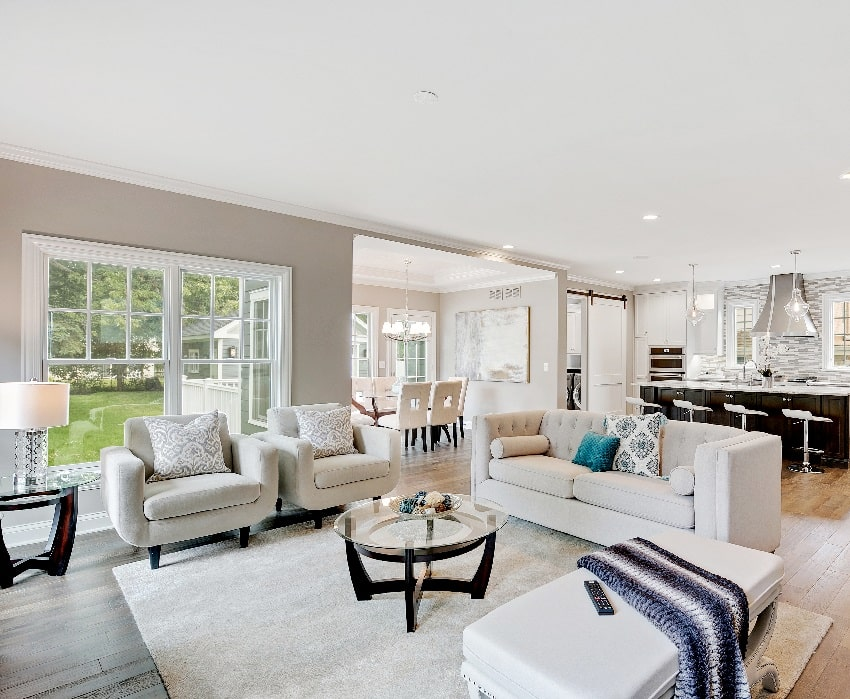 beautiful interior of living room with white ceiling paint finish, light gray sofa set center table