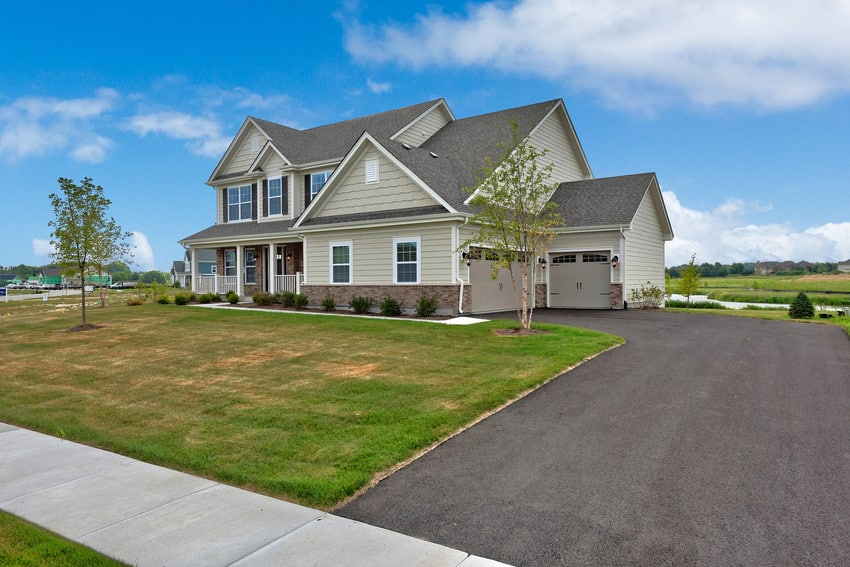 Beautiful new home near Chicago with asphalt driveway
