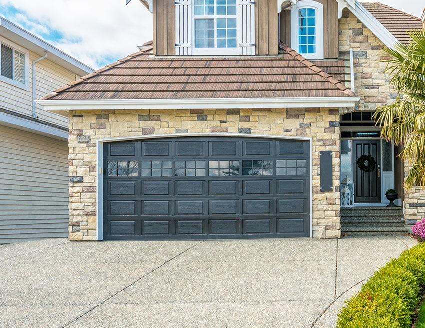 Black garage door house