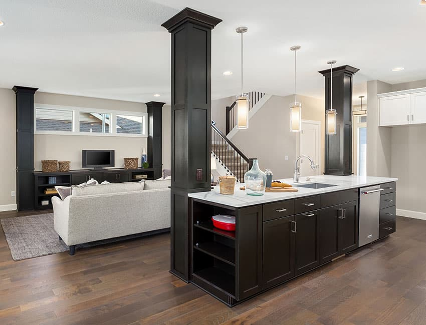 Black painted furnitures with light colored walling
