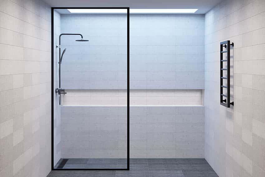 Black slate shower floors