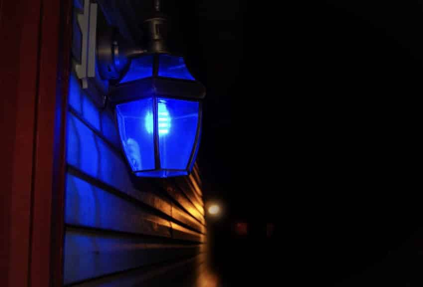 Blue porch light promotes relaxation