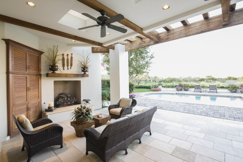 Built in pergola lighting with sofa chairs and table