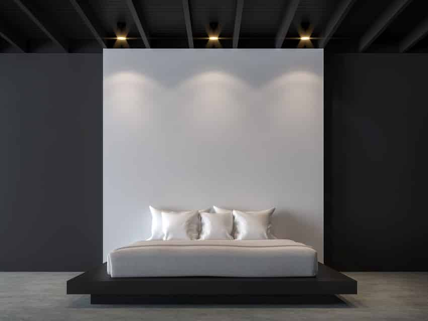Bedroom with black and white interiors