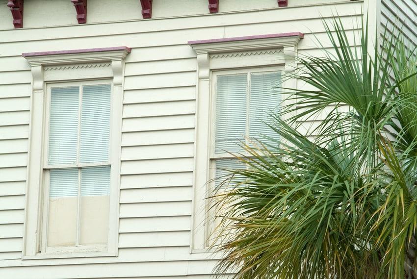 Clapback wood siding facade of Antebellum home