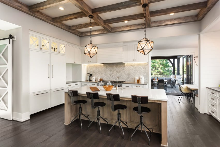 Coffered ceiling kitchen with pendant light fixtures