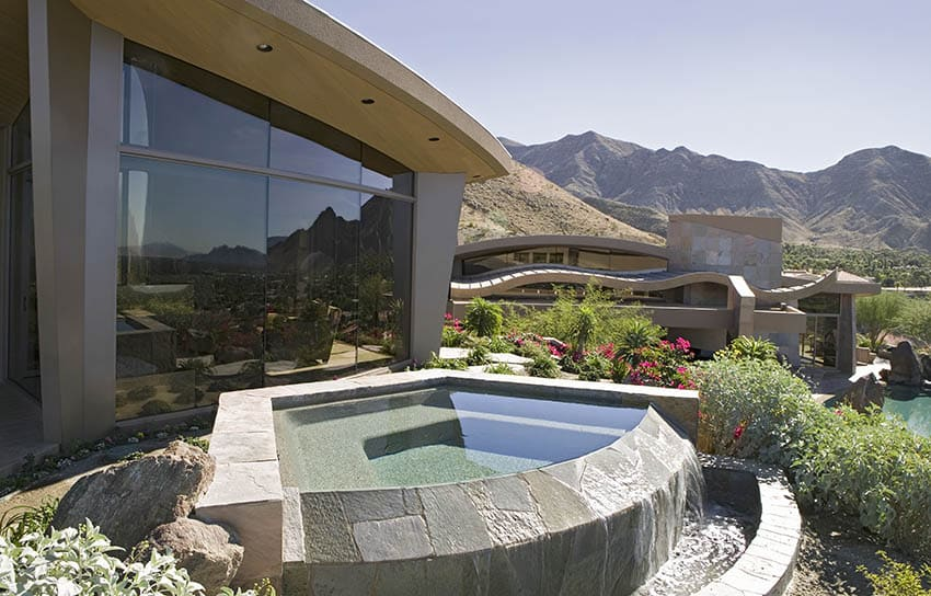 Concrete plunge pool with waterfall