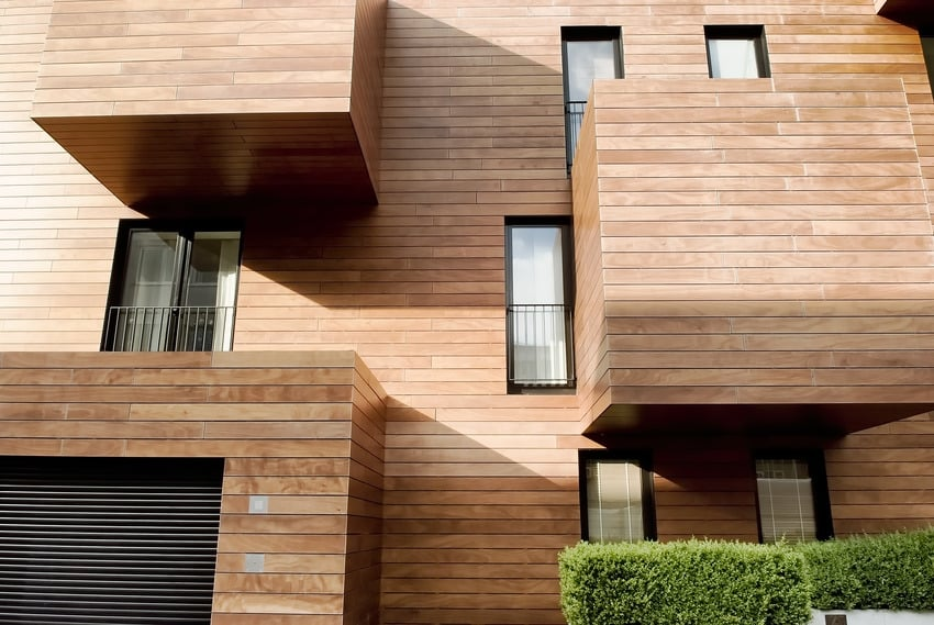 Contemporary house with engineered hardwood siding