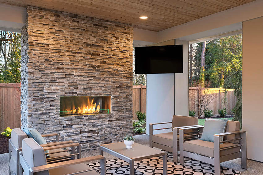 Covered patio with outdoor tv with wall mount