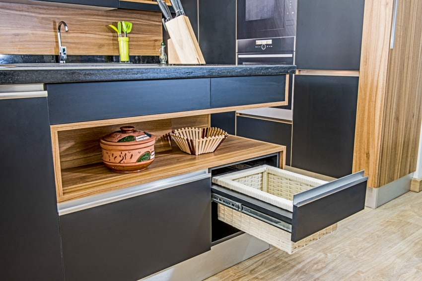 Custom kitchen island with pullout basket drawer and storage