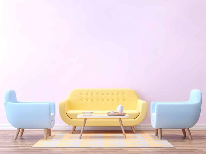 cute pastel color couch and wall