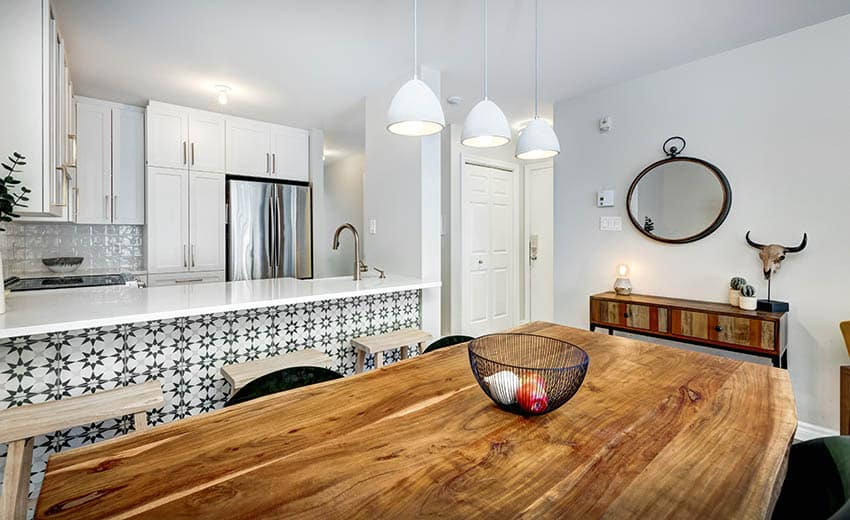 Dining room with monkey pod wood table top