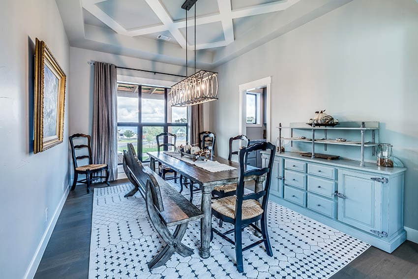 Dining room with simple painted coffered ceiling design