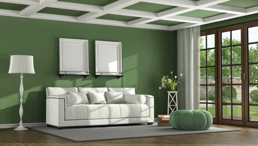 Faux coffered ceiling in living room model