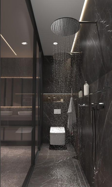 Framed shower door with rainfall shower