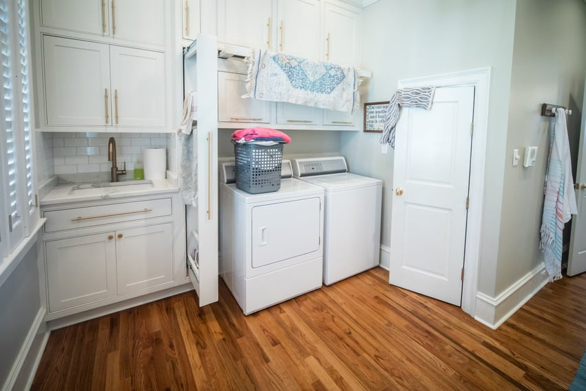 Gas dryer in spacious laundry room