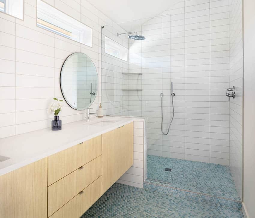 Glass mosaic tile shower floor