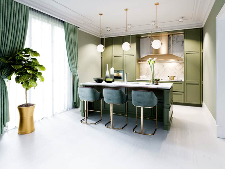 Green themed kitchen with large window and plants