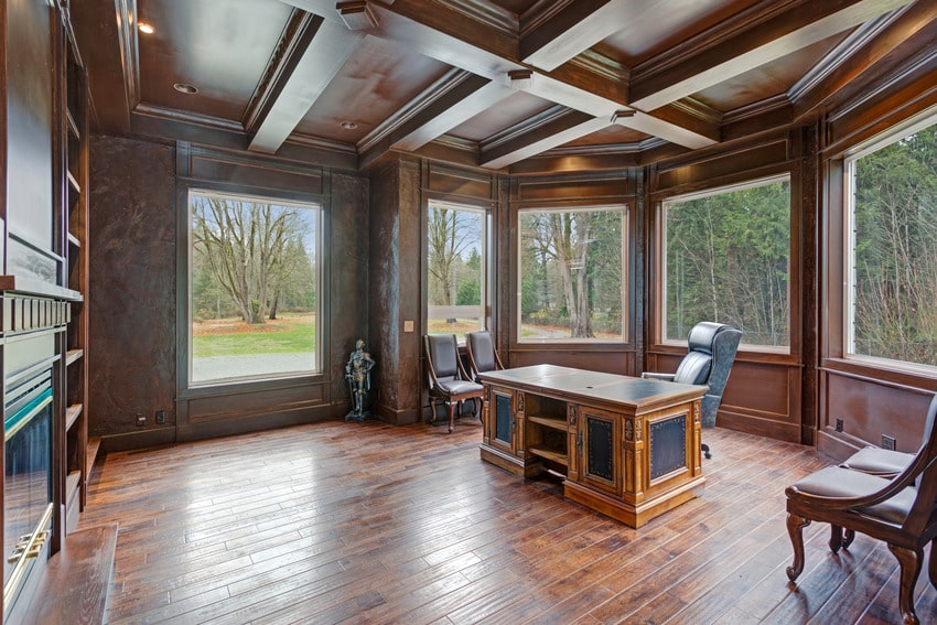 Home office featuring wood coffered ceiling