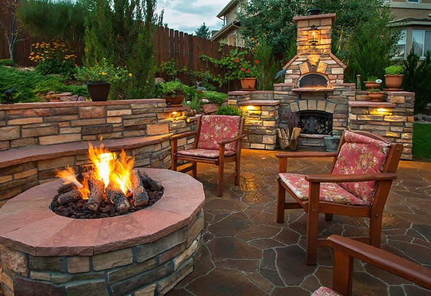Ipe wood outdoor chairs fireplace and pizza oven