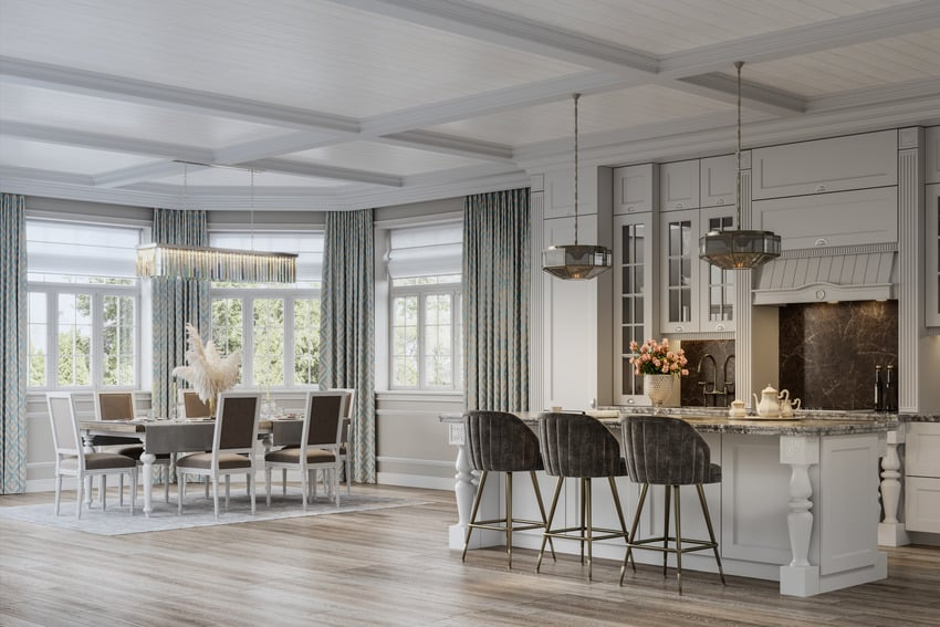 Full view of a kitchen with coffered ceiling