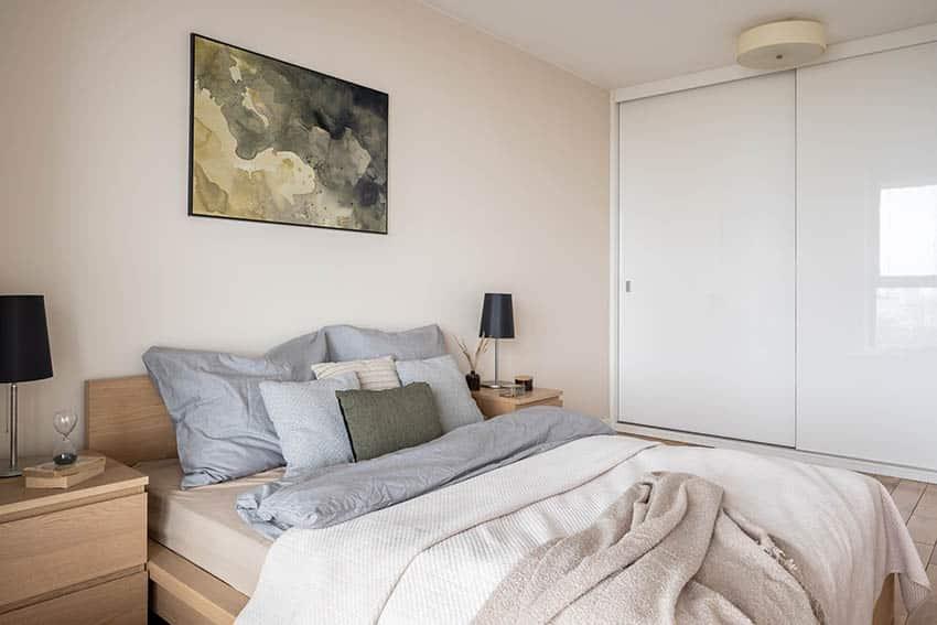 Laminate wood furniture bed frame night stand