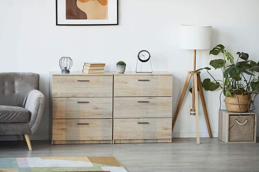 Laminate wooden cabinet in living room